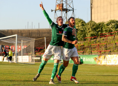 Rory Patterson celebrates scoring a goal alongside Ronan Curtis at Dalymount Park.