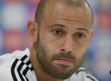 Javier Mascherano pictured at a press conference.