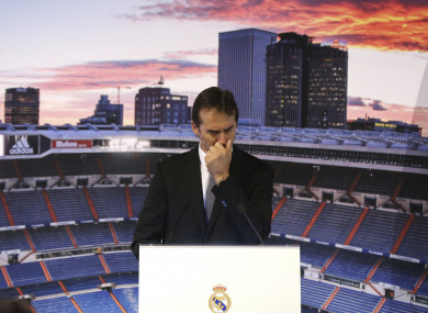 An emotional Lopetegui at his unveiling as Real Madrid manager.