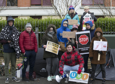 DCU students staging a sleepout in protest at rising rents in April.