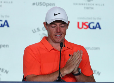 McIlroy speaking at a press conference this afternoon.