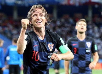 Modric celebrating their win against Argentina.