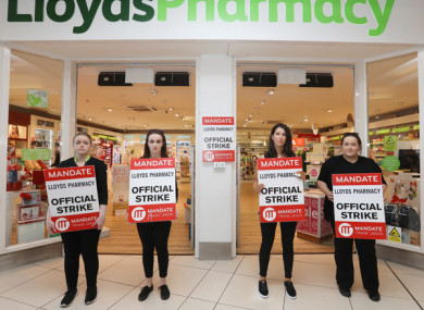 Lloyds workers Amy Bannon, Tara Flanagan, Deirdre Walshe and Debbie Kelly outside the Nutgrove store last week.