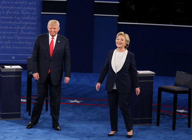 Donald Trump and Hillary Clinton at debate prior to election