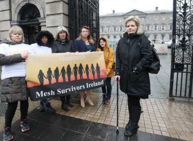 Lesley-Anne Stephens (right) with other campaigners outside the Dáil.