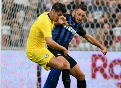 Chelsea striker Alvaro Morata battles with Inter defender Stefan de Vrij.