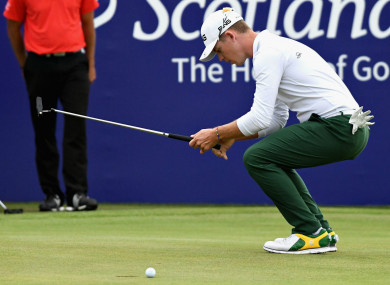 Brandon Stone misses a putt for 59 at the Scottish Open