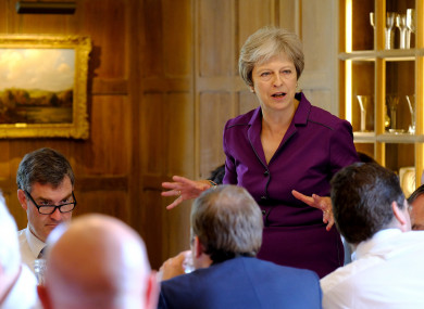 Prime Minister Theresa May speaks during a cabinet meeting at Chequers.