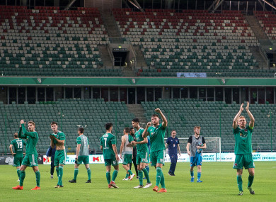 The City players applauding fans after their defeat away to Legia Warsaw last week.