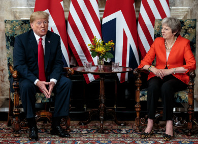 US President Donald Trump during a meeting with Prime Minister Theresa May at Chequers, her country residence in Buckinghamshire