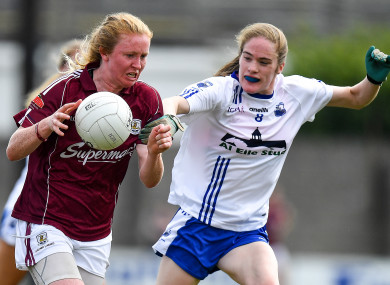 Galway's Louise Ward challenged by Emma Murray of Waterford.