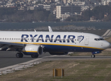 A Ryanair plane at Thessaloniki airport in Greece.