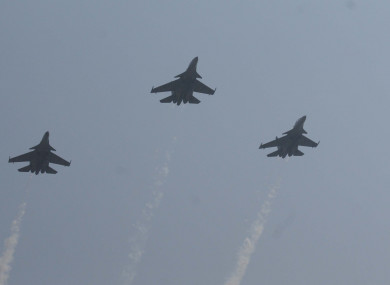 File Photo: A trio Sukhoi fighter jets
