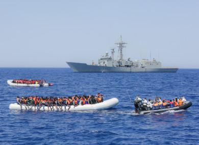 File image of migrants off Lampedusa