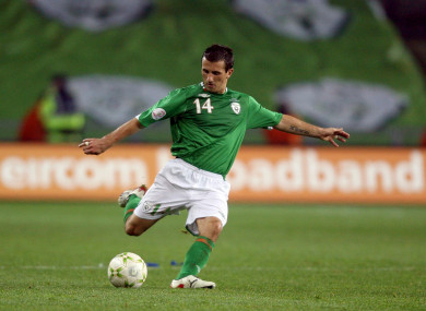 Liam Miller in action for the Republic of Ireland