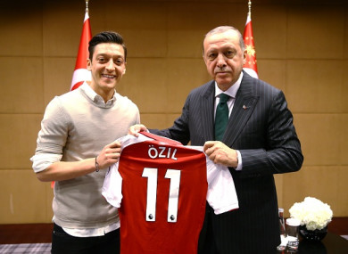 Mesut Ozil pictured with Recep Tayyip Erdogan in May.