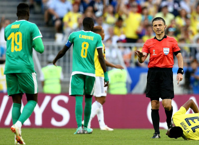Senegal players during the clash with Colombia