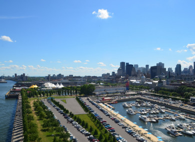 File photo - View of downtown Montreal and the Old Port from the Clock Tower