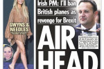 The UK Sun's front page this morning.
