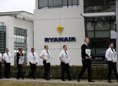 Pilots on strike outside Ryanair's head office in Swords, Dublin on 23 July