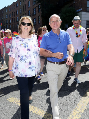 Former Irish President Mary McAleese and her husband Martin taking part in the Gay Pride Parade in Dublin in June.
