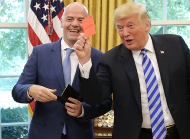 Infantino and Trump in the Oval Office yesterday.