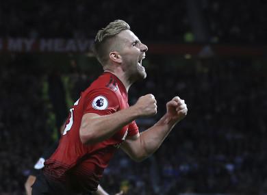 Luke Shaw celebrates scoring.