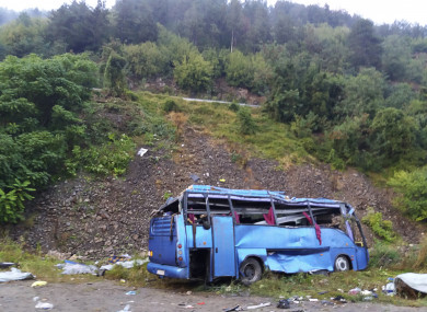 The bus after it crashed, killing 16 and injuring 27 people near the town of Svoge in Bulgaria