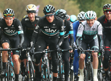 Team Sky's Gianni Moscon (centre)