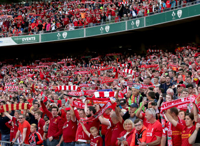 Liverpool fans packing out the Aviva Stadium last week.