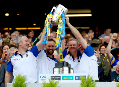 The Tipperary management team celebrating their 2016 All-Ireland final triumph.