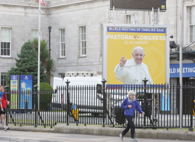 A poster for the papal visit outside the RDS in Dublin.