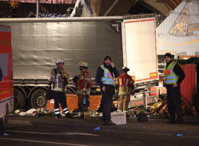 The scene in Berlin where a truck plowed into a Christmas market in 2016.