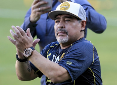 Maradona applauds the crowd after the victory.