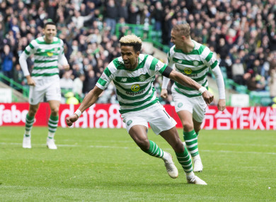 Scott Sinclair celebrates giving Celtic the lead against Aberdeen at Parkhead.