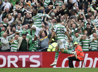 Olivier Ntcham celebrates with Tom Rogic after giving Celtic the lead.
