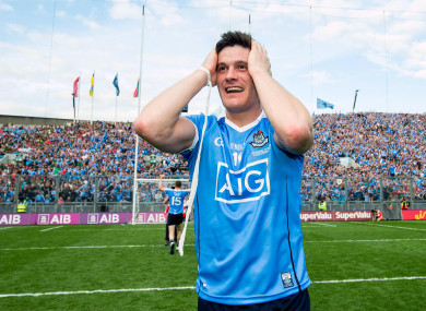 Diarmuid Connolly celebrating last year's final victory over Mayo.