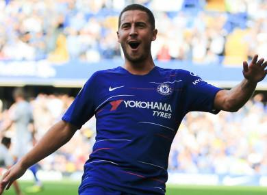 Eden Hazard celebrates scoring for Chelsea.