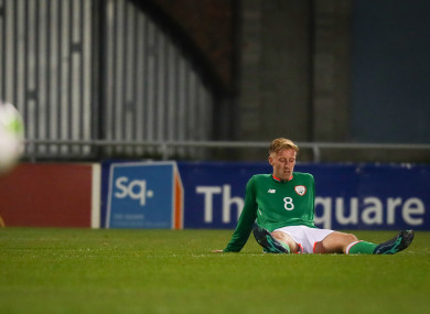 Ireland's Henry Charsley dejected after the game.