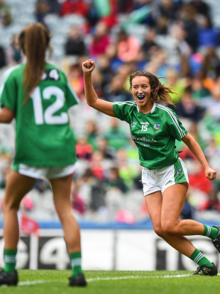 Mairéad Kavanagh of Limerick celebrates after scoring her side's third goal during the TG4 All-Ireland Ladies Football Junior Championship Final.
