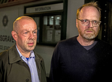 Journalists Barry McCaffrey, left and Trevor Birney, right, after their release last night.