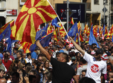 Thousands of people marched in downtown of capital Skopje to support a forthcoming key referendum on changing Macedonia's name