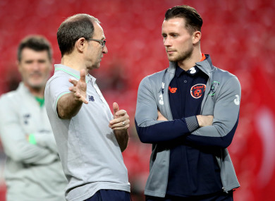 Republic of Ireland midfielder Alan Browne (right) with manager Martin O'Neill.
