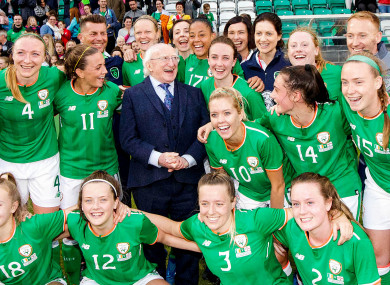 Michael D Higgins with The Republic of Ireland Women's team after last night's match.