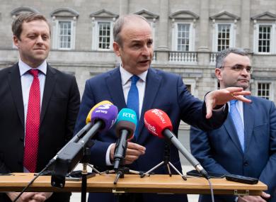 Fianna Fáil's Thomas Byrne, Micheal Martin and Dara Calleary.