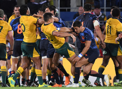 A fight breaks out during the Rugby Championship match between Australia and Argentina.