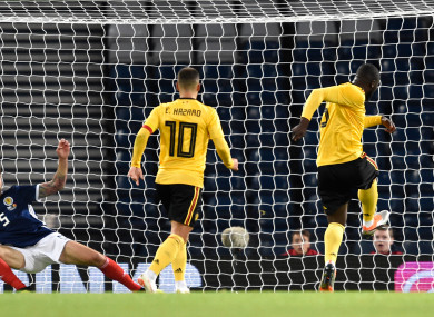 Belgium's Romelu Lukaku scores his side's first goal of the game.