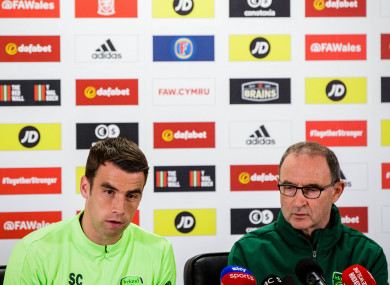 Ireland captain Seamus Coleman and manager Martin O'Neill.