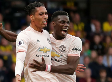 Manchester United pair Chris Smalling and Paul Pogba