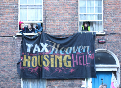 Housing activists occupying 41 Belvedere Place in Dublin